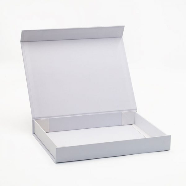 Foldable magnetic lid shallow white gift box