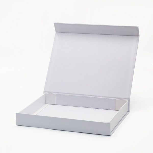Magnetic flap lid shallow white gift box