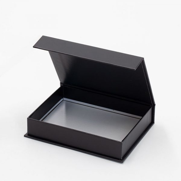 Small shallow black gift box with magnetic closure